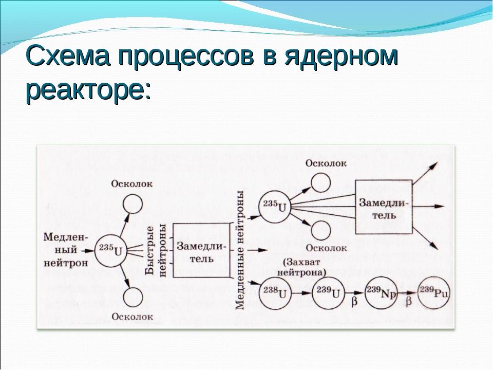 Схема процессов в ядерном реакторе:
