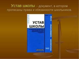 Устав школы – документ, в котором прописаны права и обязанности школьников.