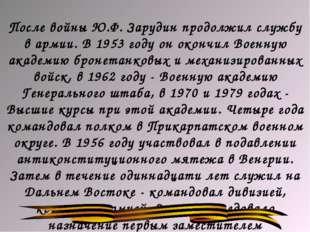 После войны Ю.Ф. Зарудин продолжил службу в армии. В 1953 году он окончил Вое