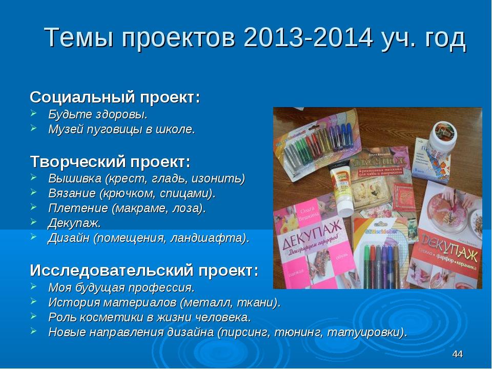 * Темы проектов 2013-2014 уч. год Социальный проект: Будьте здоровы. Музей пу...