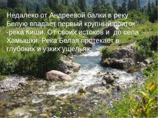Недалеко от Андреевой балки в реку Белую впадает первый крупный приток -река