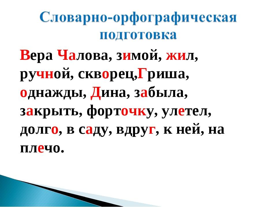 Вера Чалова, зимой, жил, ручной, скворец,Гриша, однажды, Дина, забыла, закрыт...