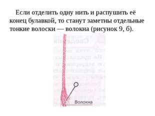 Если отделить одну нить и распушить её конец булавкой, то станут заметны отде