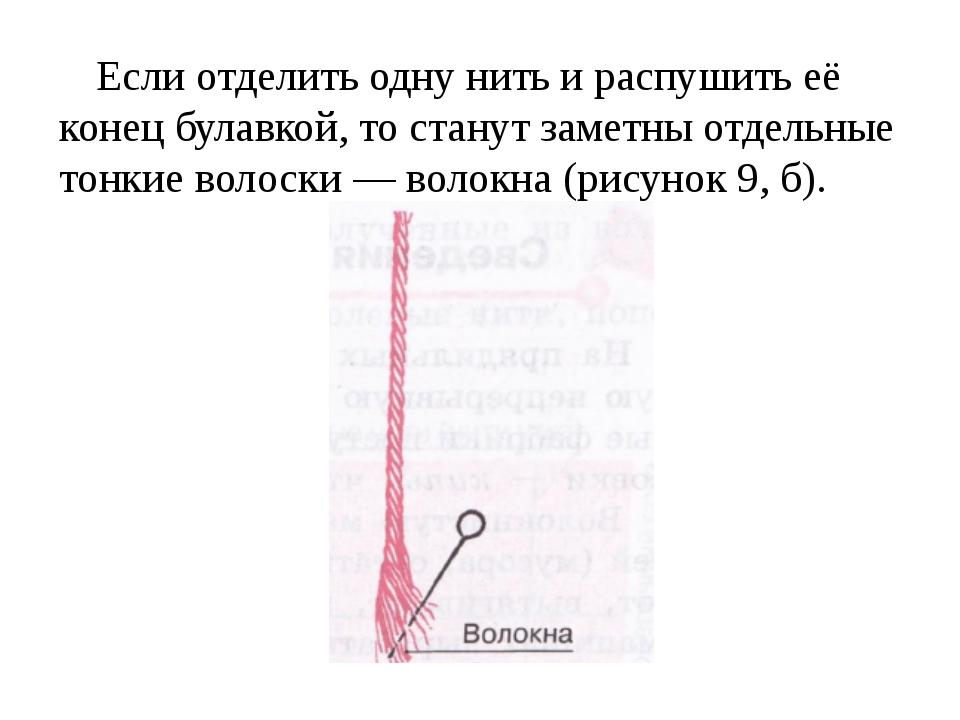 Если отделить одну нить и распушить её конец булавкой, то станут заметны отде...