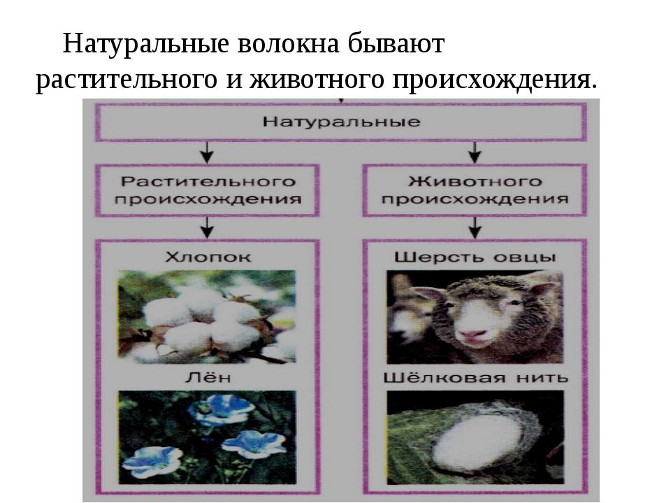 Натуральные волокна бывают растительного и животного происхождения.
