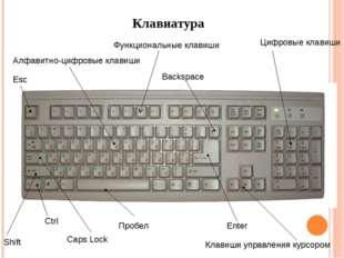 Клавиатура Алфавитно-цифровые клавиши Клавиши управления курсором Цифровые кл