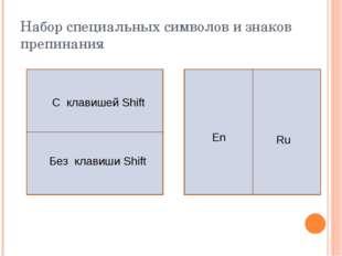 Набор специальных символов и знаков препинания С клавишей Shift Без клавиши S