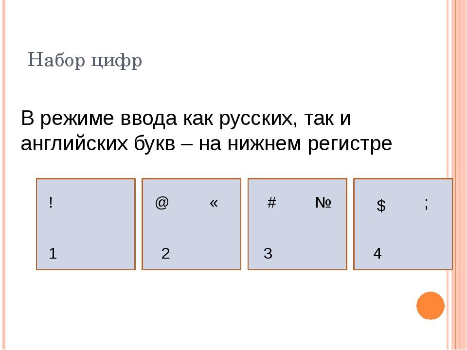 Набор цифр В режиме ввода как русских, так и английских букв – на нижнем реги...