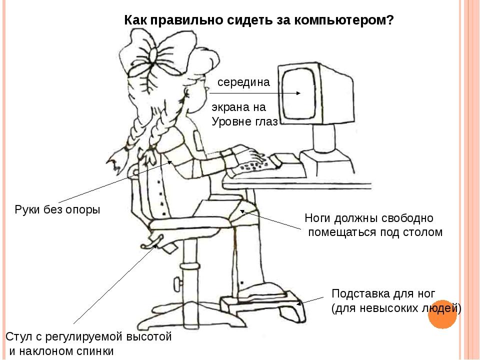 Руки без опоры Стул с регулируемой высотой и наклоном спинки середина экрана...