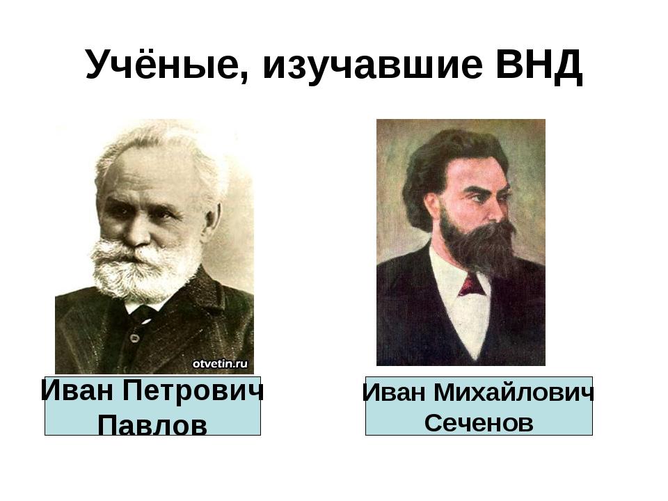 Учёные, изучавшие ВНД Иван Петрович Павлов Иван Михайлович Сеченов