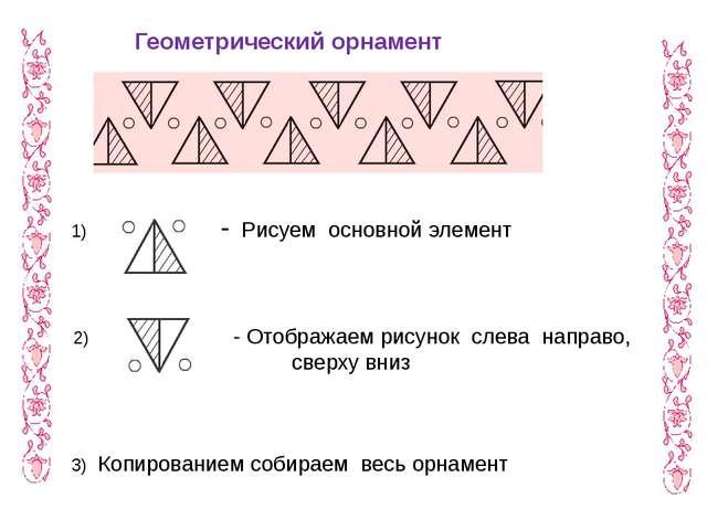 1) - Рисуем основной элемент 2)  - Отображаем рисунок слева направо, сверх...