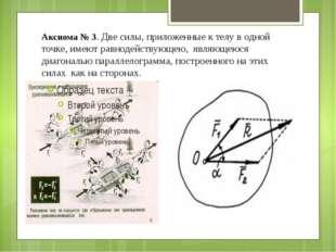 Аксиома № 3. Две силы, приложенные к телу в одной точке, имеют равнодействующ