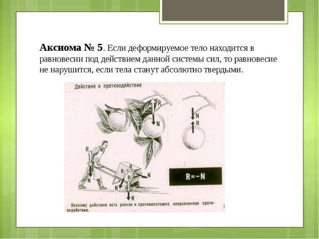 Аксиома № 5. Если деформируемое тело находится в равновесии под действием дан...