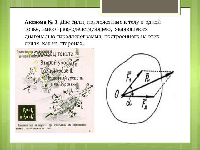 Аксиома № 3. Две силы, приложенные к телу в одной точке, имеют равнодействующ...