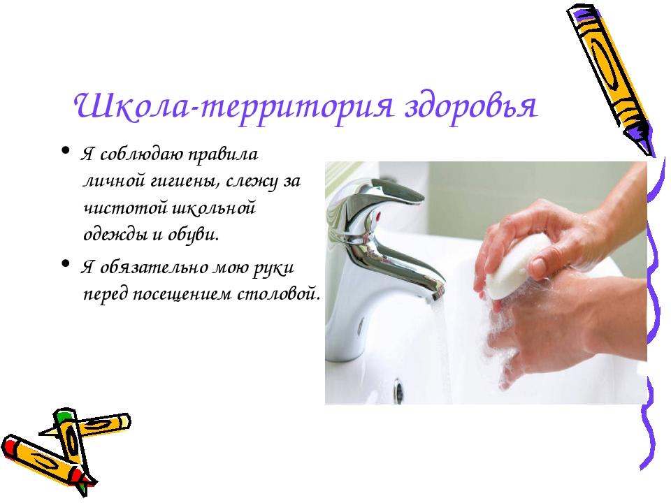 Школа-территория здоровья Я соблюдаю правила личной гигиены, слежу за чистото...
