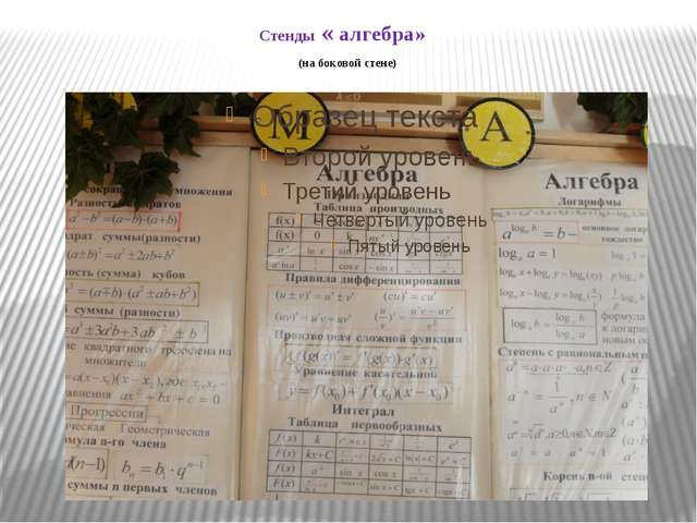 Стенды « алгебра» (на боковой стене)