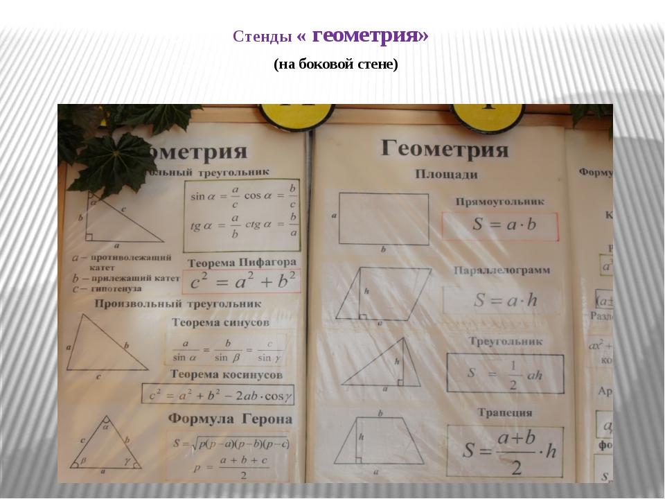 Стенды « геометрия» (на боковой стене)