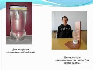 Демонстрация «Картезианский водолаз» Демонстрация «Автоматическая поилка для