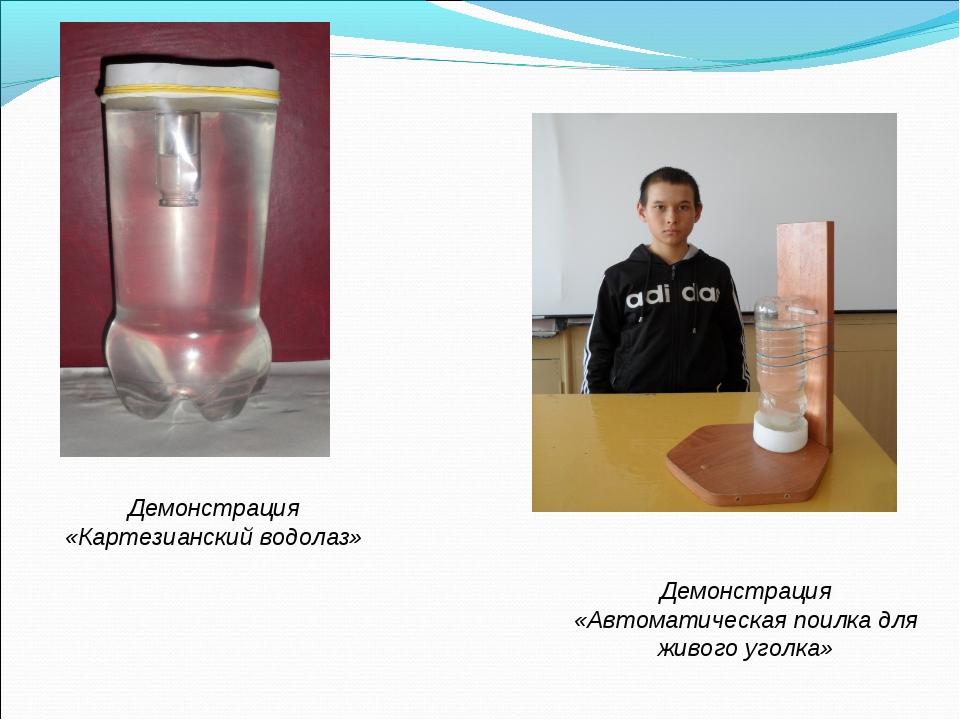Демонстрация «Картезианский водолаз» Демонстрация «Автоматическая поилка для...