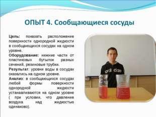 Цель: показать расположение поверхности однородной жидкости в сообщающихся со