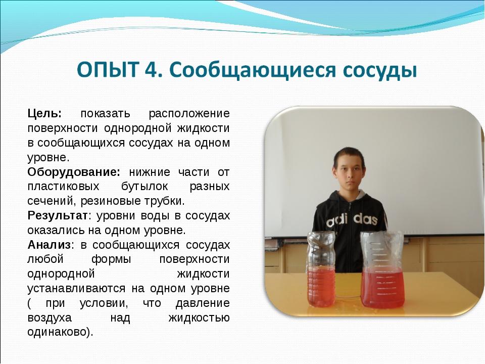 Цель: показать расположение поверхности однородной жидкости в сообщающихся со...