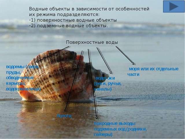 Водные объекты в зависимости от особенностей их режима подразделяются: 1) пов...
