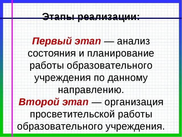 Этапы реализации: Первый этап — анализ состояния и планирование работы образ...