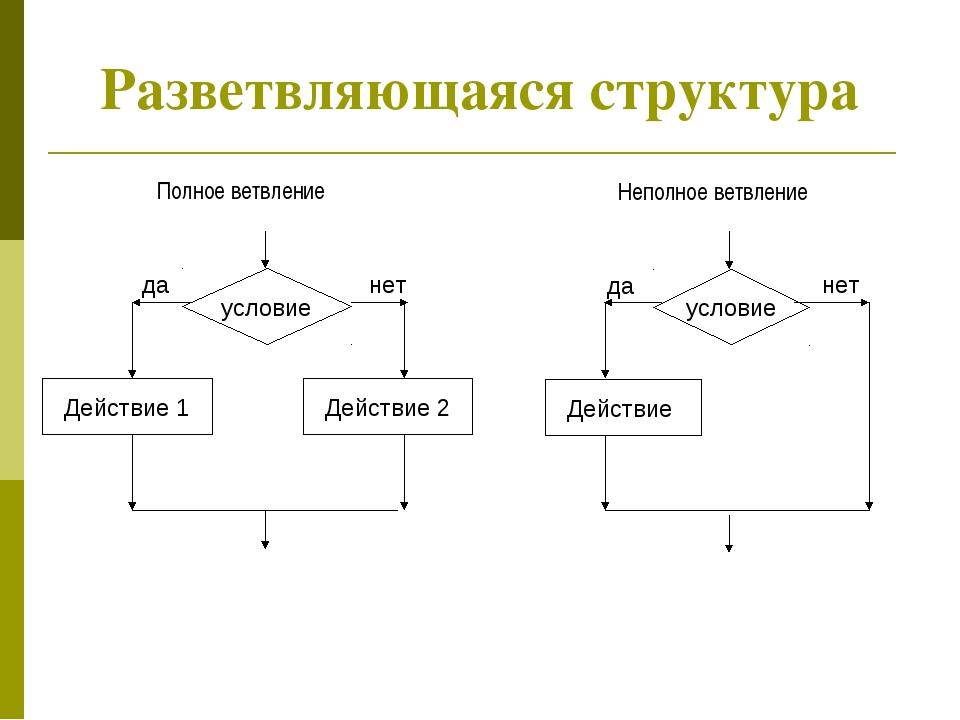 Разветвляющаяся структура Полное ветвление Неполное ветвление
