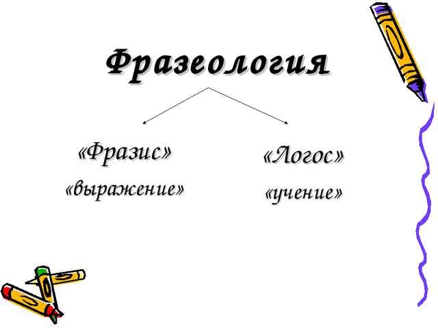 Фразеология «Фразис» «выражение» «Логос» «учение»