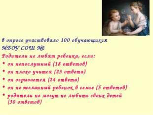 в опросе участвовало 100 обучающихся МБОУ СОШ №2 Родители не любят ребенка, е