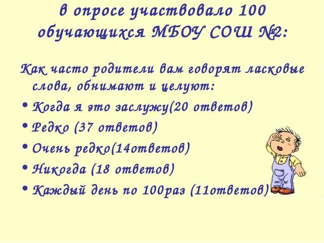 в опросе участвовало 100 обучающихся МБОУ СОШ №2: Как часто родители вам гово...