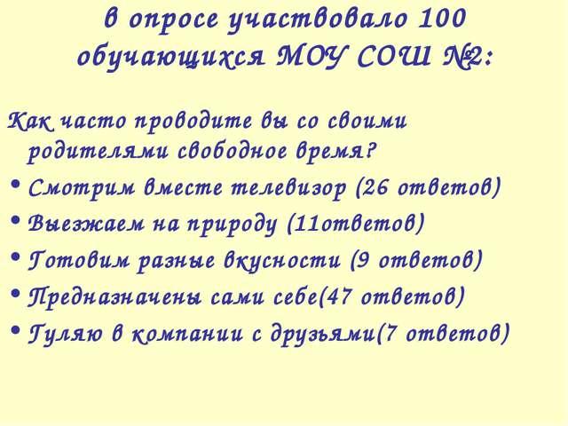 в опросе участвовало 100 обучающихся МОУ СОШ №2: Как часто проводите вы со св...