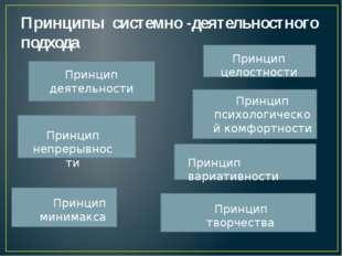 Принципы системно -деятельностного подхода  Принцип деятельности Принцип неп
