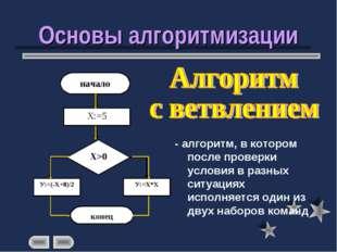 Основы алгоритмизации - алгоритм, в котором после проверки условия в разных с