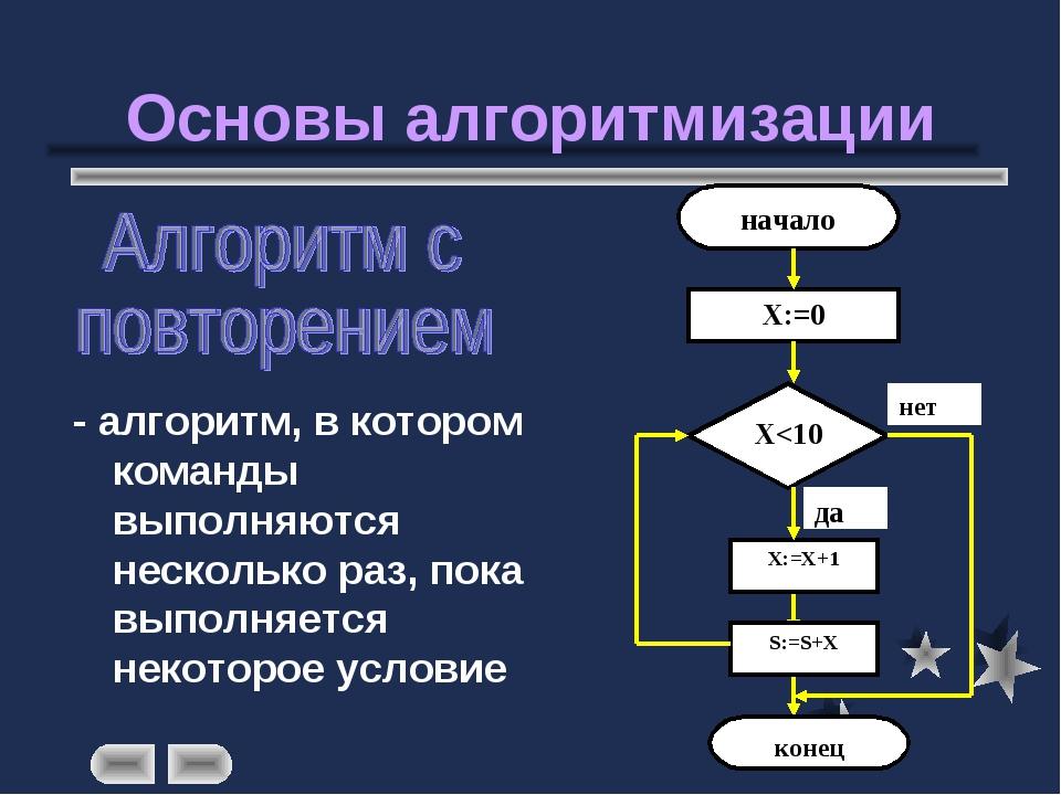 Основы алгоритмизации - алгоритм, в котором команды выполняются несколько раз...