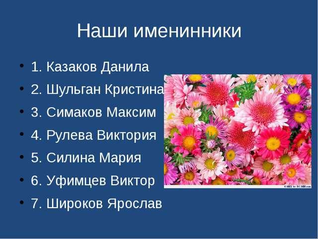 Наши именинники 1. Казаков Данила 2. Шульган Кристина 3. Симаков Максим 4. Ру...