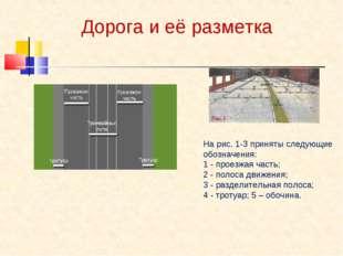 Дорога и её разметка На рис. 1-3 приняты следующие обозначения: 1 - проезжая