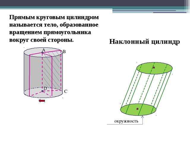 A B C D Прямым круговым цилиндром называется тело, образованное вращением пр...