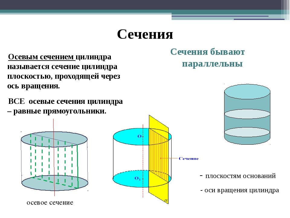 Сечения Осевым сечением цилиндра называется сечение цилиндра плоскостью, прох...
