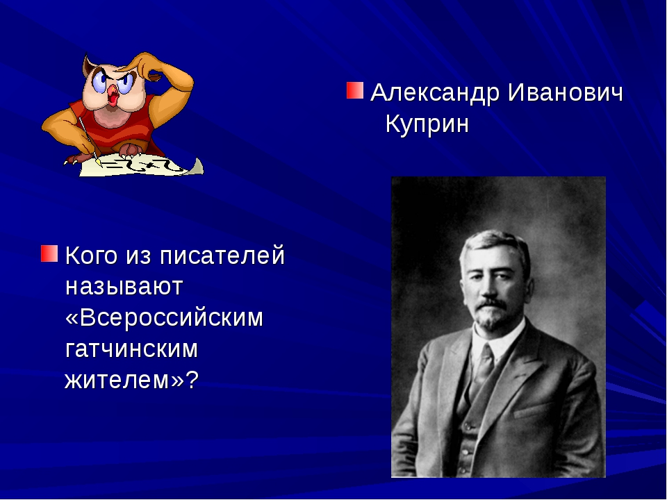 Кого из писателей называют «Всероссийским гатчинским жителем»? Александр Иван...