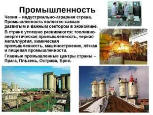 Промышленность Чехия – индустриально-аграрная страна. Промышленность является