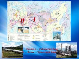 I II I – Западно – Сибирская база II – Волго – Уральская база