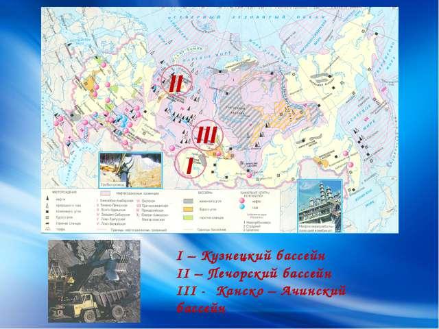 I II I – Кузнецкий бассейн II – Печорский бассейн III - Канско – Ачинский ба...