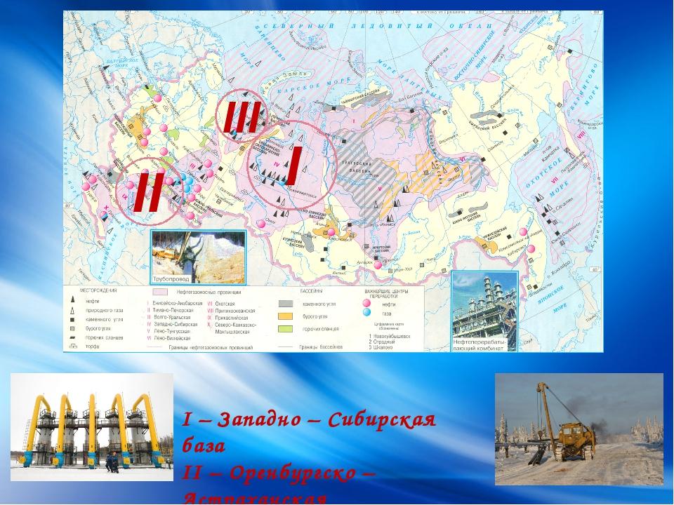I II I – Западно – Сибирская база II – Оренбургско – Астраханская III - Тима...