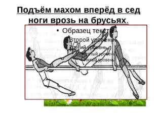 Подъём махом вперёд в сед ноги врозь на брусьях.