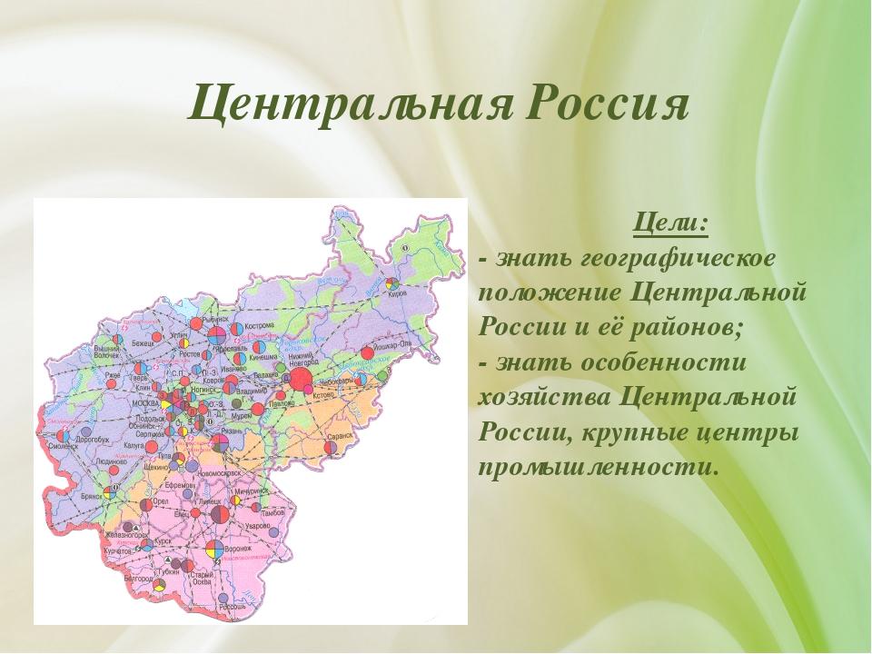 Центральная Россия Цели: - знать географическое положение Центральной России...