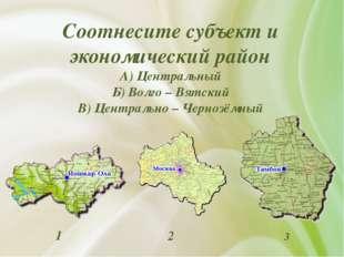Соотнесите субъект и экономический район А) Центральный Б) Волго – Вятский В)
