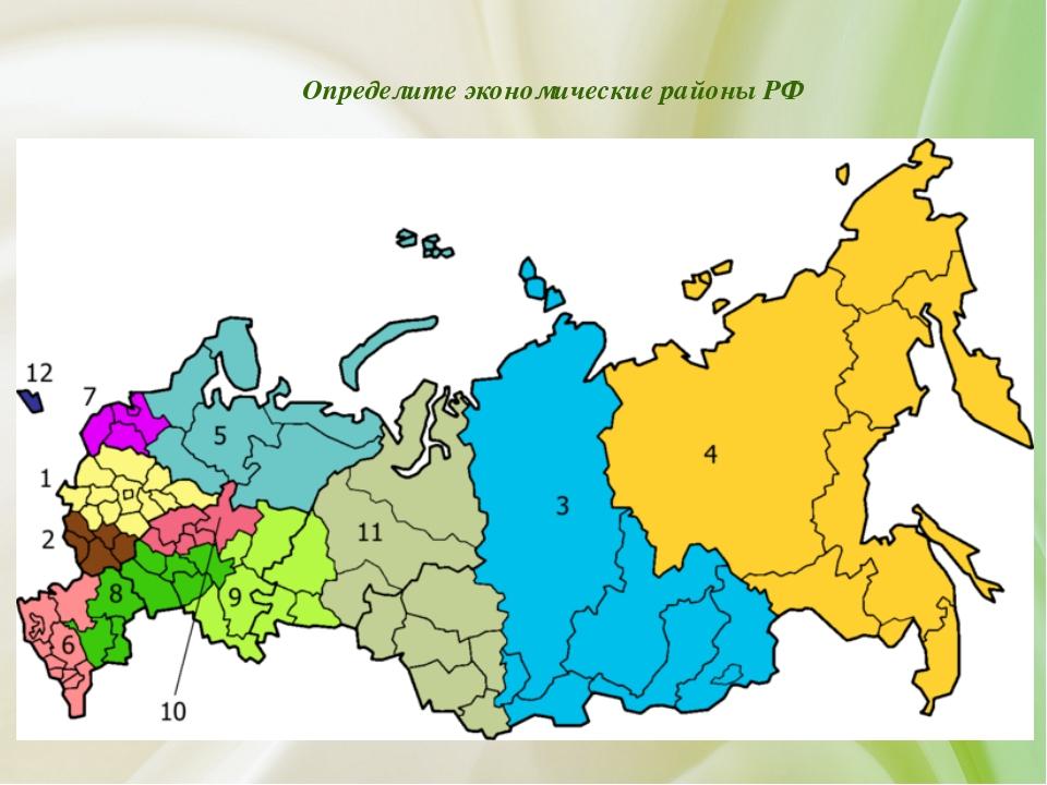 Определите экономические районы РФ
