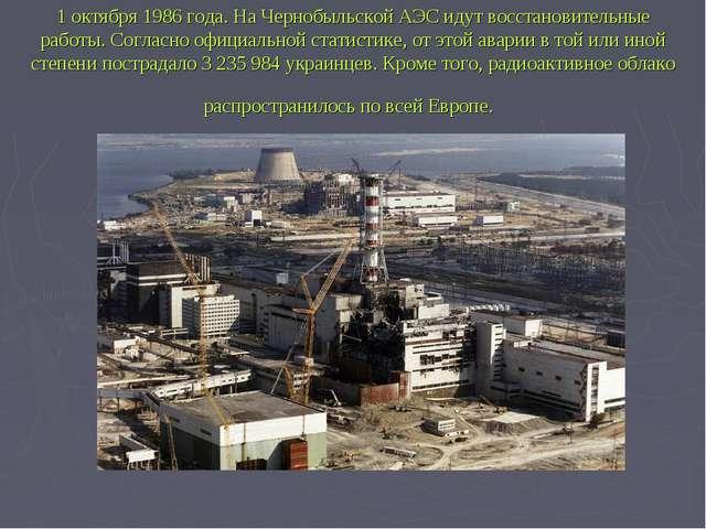 1 октября 1986 года. На Чернобыльской АЭС идут восстановительные работы. Согл...