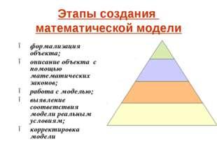 Этапы создания математической модели формализация объекта; описание объекта с